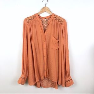 Free People | eyelet Swing button up blouse